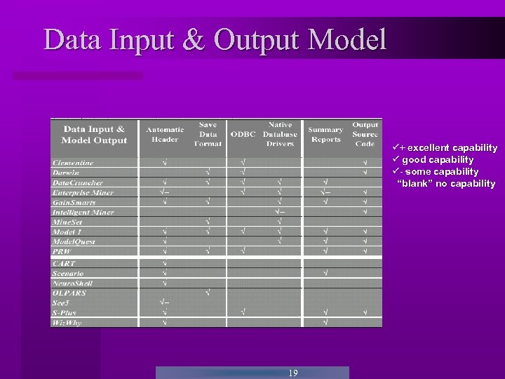 """Data Input & Output Model + excellent capability good capability - some capability """"blank"""""""