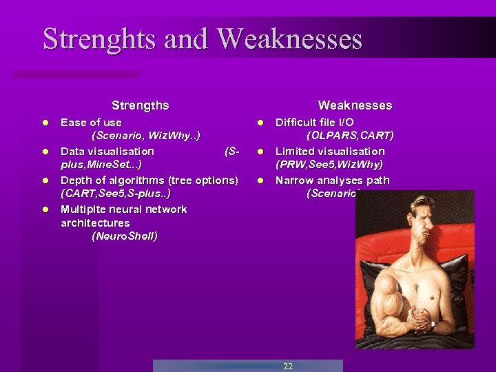 Strenghts and Weaknesses Strengths Ease of use (Scenario, Wiz. Why. . ) Data visualisation