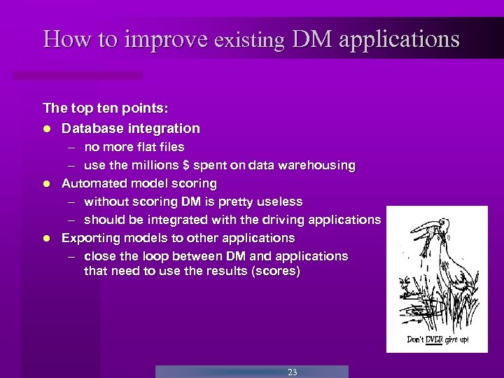 How to improve existing DM applications The top ten points: Database integration – no
