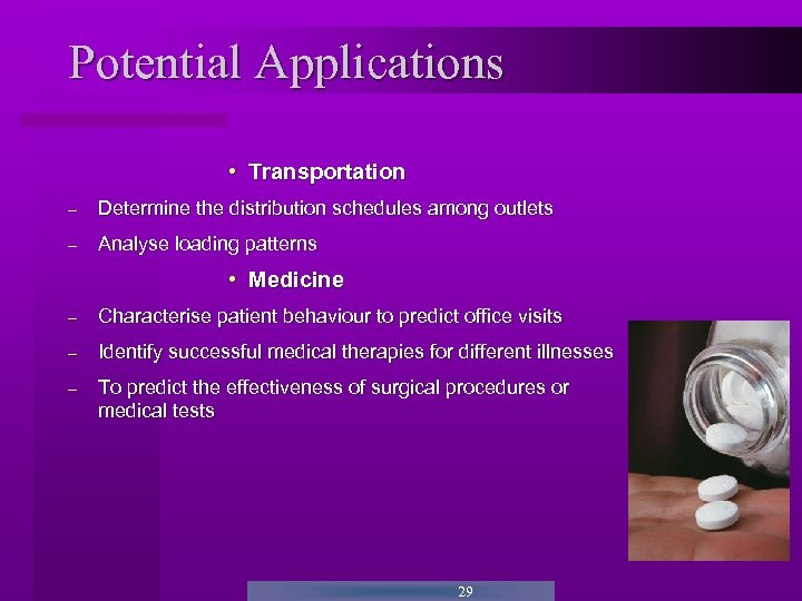 Potential Applications • Transportation - Determine the distribution schedules among outlets - Analyse loading