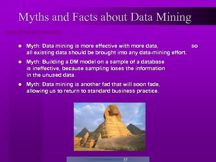 Myths and Facts about Data Mining Myth: Data mining is more effective with more