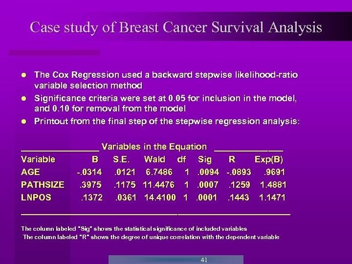 Case study of Breast Cancer Survival Analysis The Cox Regression used a backward stepwise