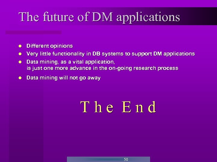 The future of DM applications Different opinions Very little functionality in DB systems to