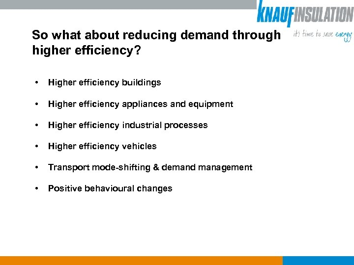 So what about reducing demand through higher efficiency? • Higher efficiency buildings • Higher