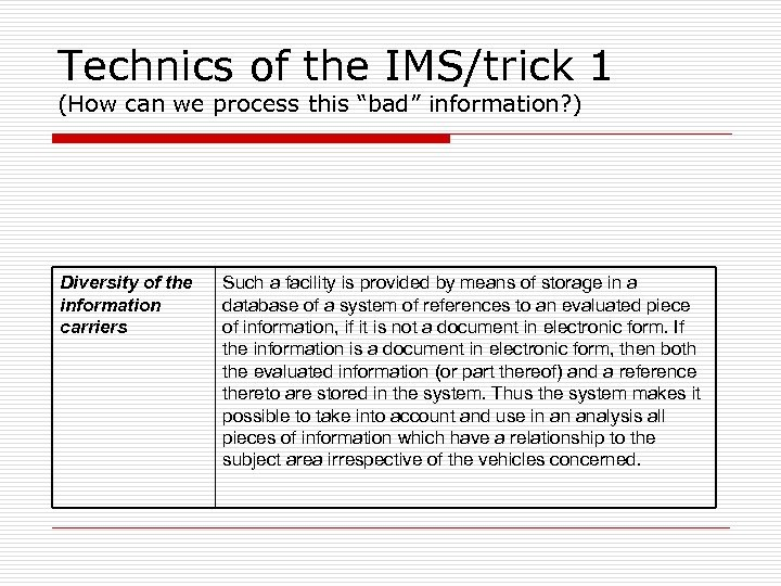 """Technics of the IMS/trick 1 (How can we process this """"bad"""" information? ) Diversity"""
