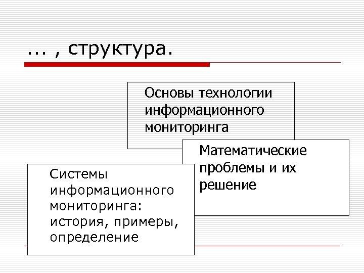 . . . , структура. Основы технологии информационного мониторинга Системы информационного мониторинга: история, примеры,