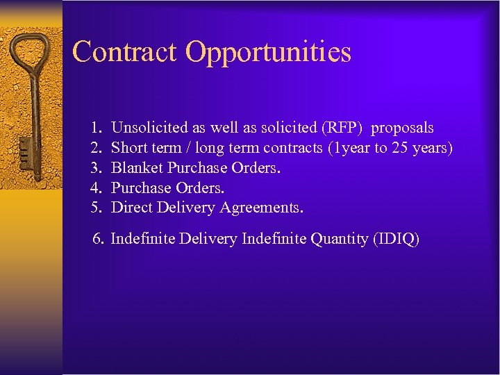 Contract Opportunities 1. 2. 3. 4. 5. Unsolicited as well as solicited (RFP) proposals