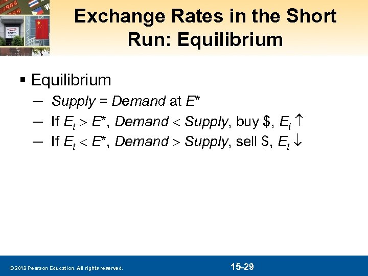 Exchange Rates in the Short Run: Equilibrium § Equilibrium ─ Supply = Demand at