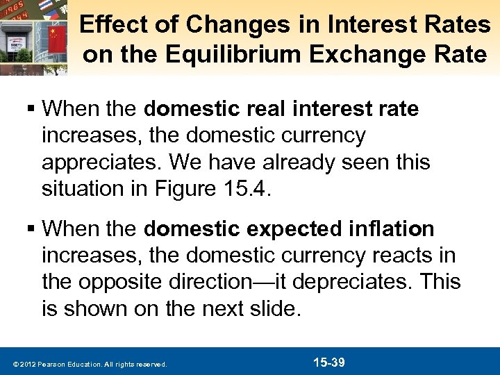 Effect of Changes in Interest Rates on the Equilibrium Exchange Rate § When the