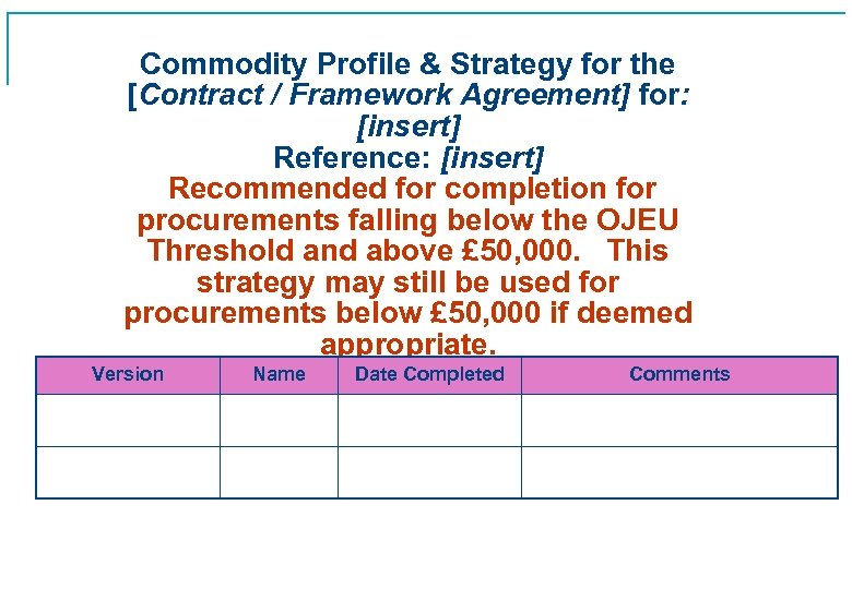 Commodity Profile & Strategy for the [Contract / Framework Agreement] for: [insert] Reference: [insert]