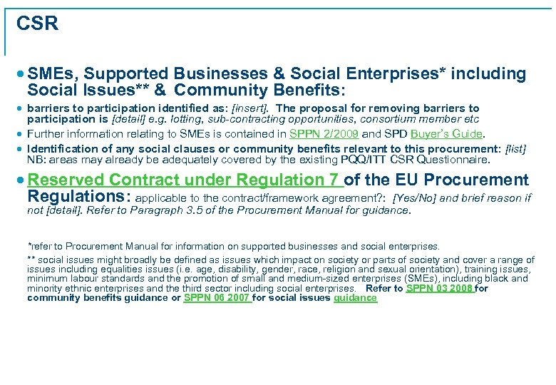 CSR · SMEs, Supported Businesses & Social Enterprises* including Social Issues** & Community Benefits: