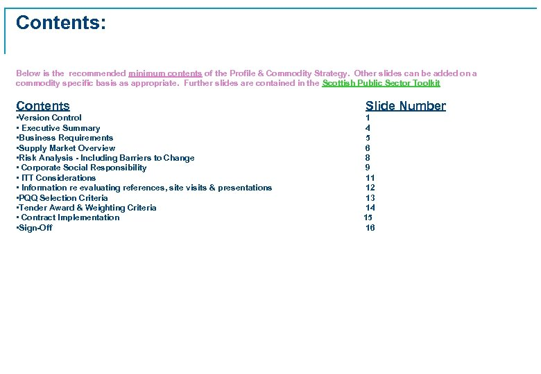 Contents: Below is the recommended minimum contents of the Profile & Commodity Strategy. Other