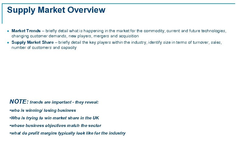 Supply Market Overview · Market Trends – briefly detail what is happening in the