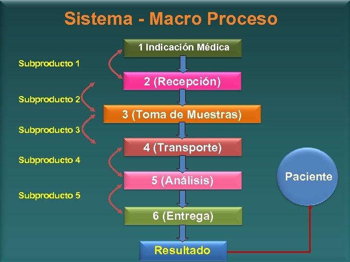 Sistema - Macro Proceso 1 Indicación Médica Subproducto 1 2 (Recepción) Subproducto 2 3