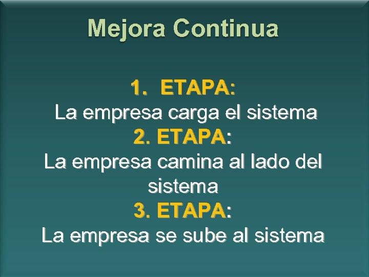 Mejora Continua 1. ETAPA: La empresa carga el sistema 2. ETAPA: La empresa camina