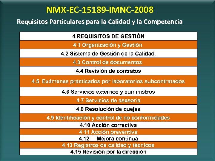 NMX-EC-15189 -IMNC-2008 Requisitos Particulares para la Calidad y la Competencia 4 REQUISITOS DE GESTIÓN