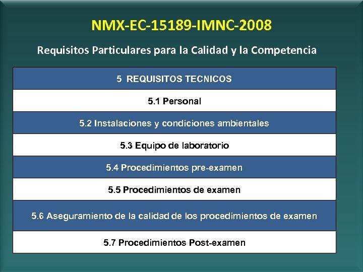 NMX-EC-15189 -IMNC-2008 Requisitos Particulares para la Calidad y la Competencia 5 REQUISITOS TECNICOS 5.