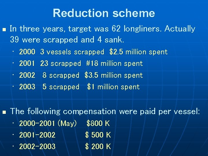 Reduction scheme n In three years, target was 62 longliners. Actually 39 were scrapped