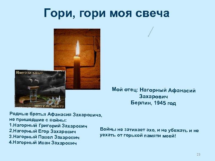 Гори, гори моя свеча Мой отец: Нагорный Афанасий Захарович Берлин, 1945 год Родные братья