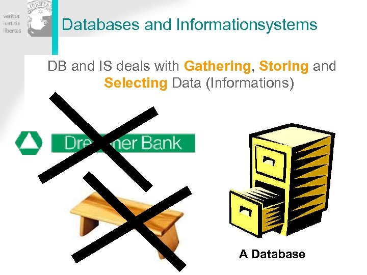 Databases and Informationsystems DB and IS deals with Gathering, Storing and Selecting Data (Informations)