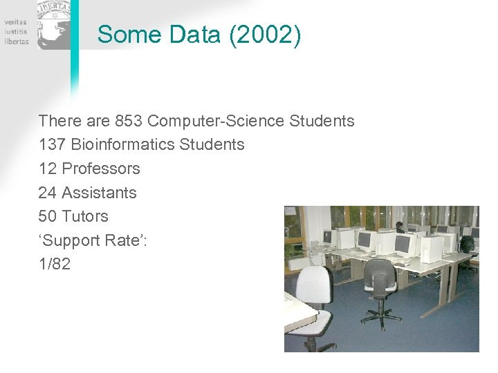 Some Data (2002) There are 853 Computer-Science Students 137 Bioinformatics Students 12 Professors 24