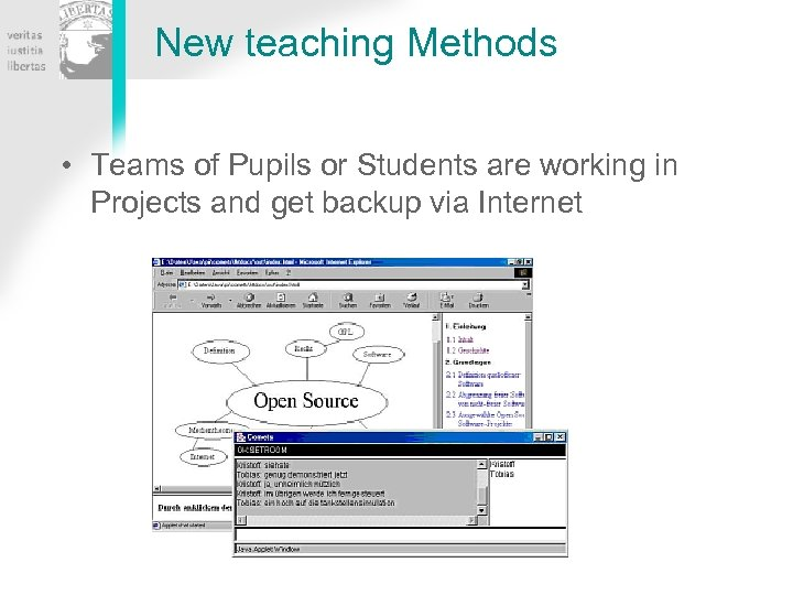 New teaching Methods • Teams of Pupils or Students are working in Projects and