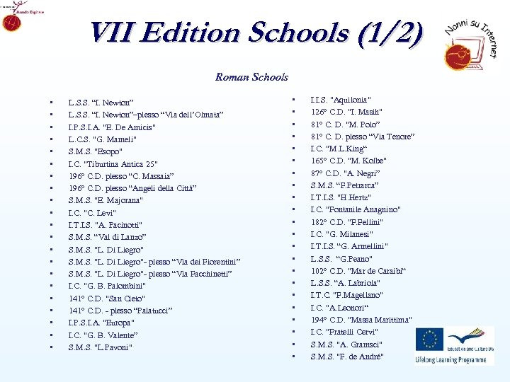 VII Edition Schools (1/2) Roman Schools • • • • • • L. S.