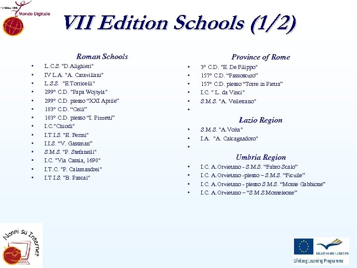 VII Edition Schools (1/2) Roman Schools • • • • L. C. S.