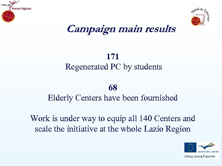 Campaign main results 171 Regenerated PC by students 68 Elderly Centers have been fournished