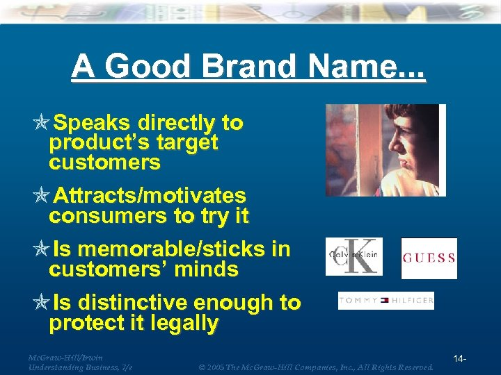 A Good Brand Name. . . Speaks directly to product's target customers Attracts/motivates consumers