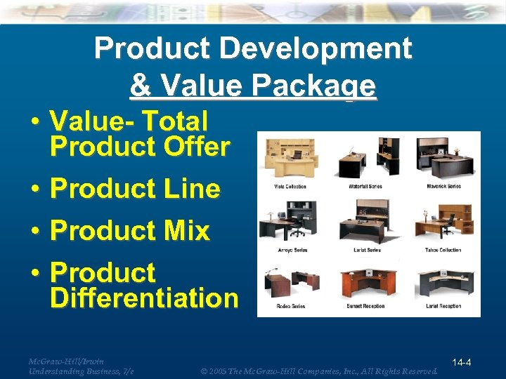 Product Development & Value Package • Value- Total Product Offer • Product Line •