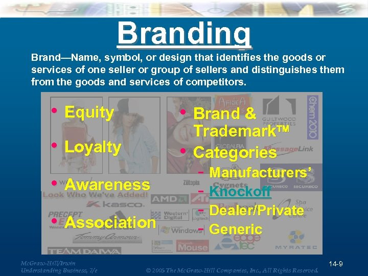 Branding Brand—Name, symbol, or design that identifies the goods or services of one seller