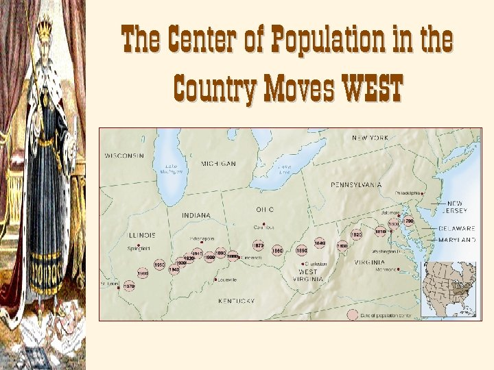 The Center of Population in the Country Moves WEST