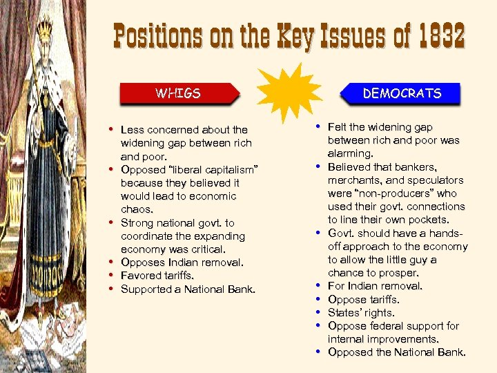 Positions on the Key Issues of 1832 WHIGS DEMOCRATS • Less concerned about the