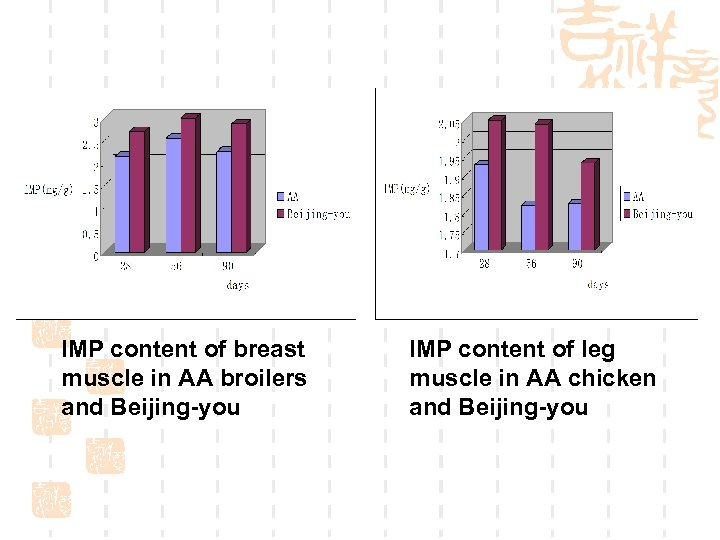IMP content of breast muscle in AA broilers and Beijing-you IMP content of leg