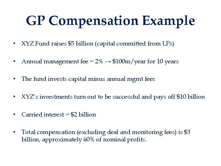 GP Compensation Example • XYZ Fund raises $5 billion (capital committed from LPs) •