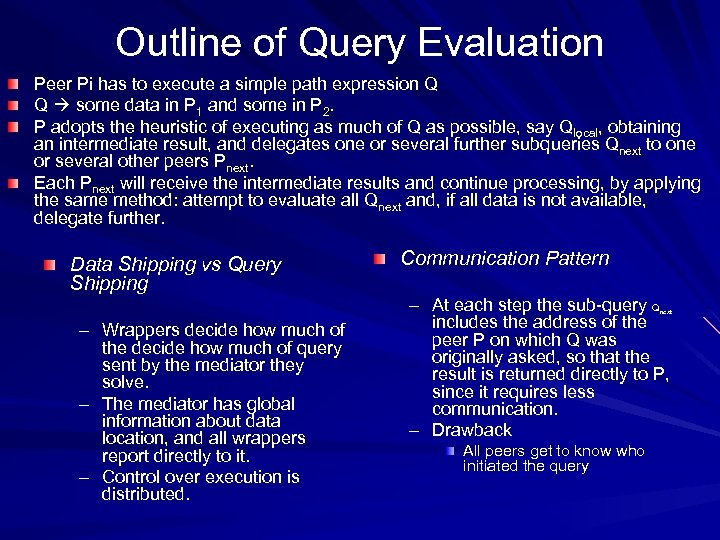 Outline of Query Evaluation Peer Pi has to execute a simple path expression Q
