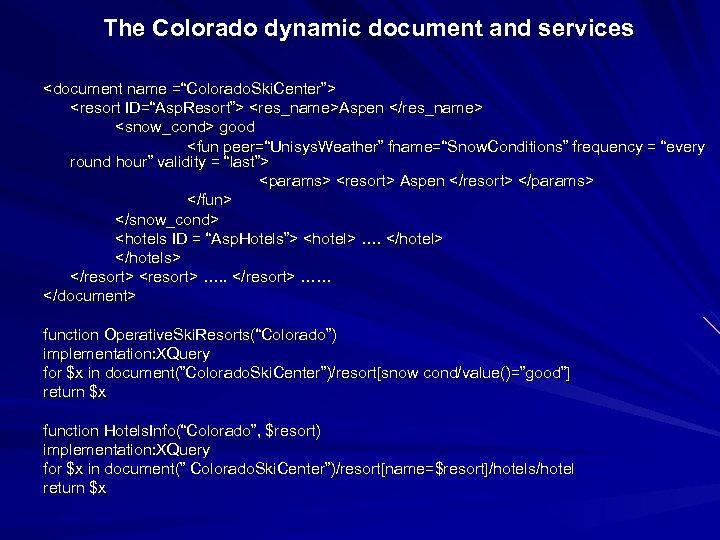 "The Colorado dynamic document and services <document name =""Colorado. Ski. Center""> <resort ID=""Asp. Resort"">"
