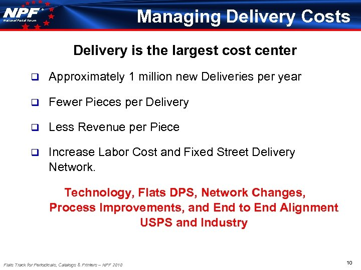 Managing Delivery Costs ® National Postal Forum Delivery is the largest cost center q