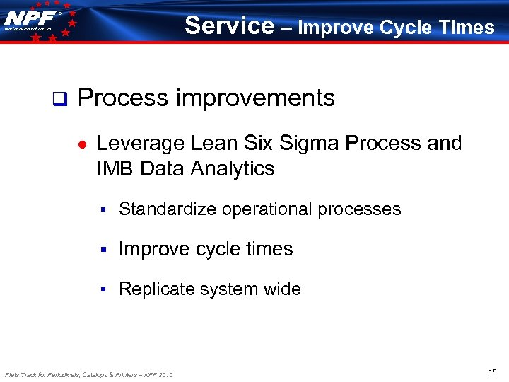 ® Service – Improve Cycle Times National Postal Forum q Process improvements ● Leverage