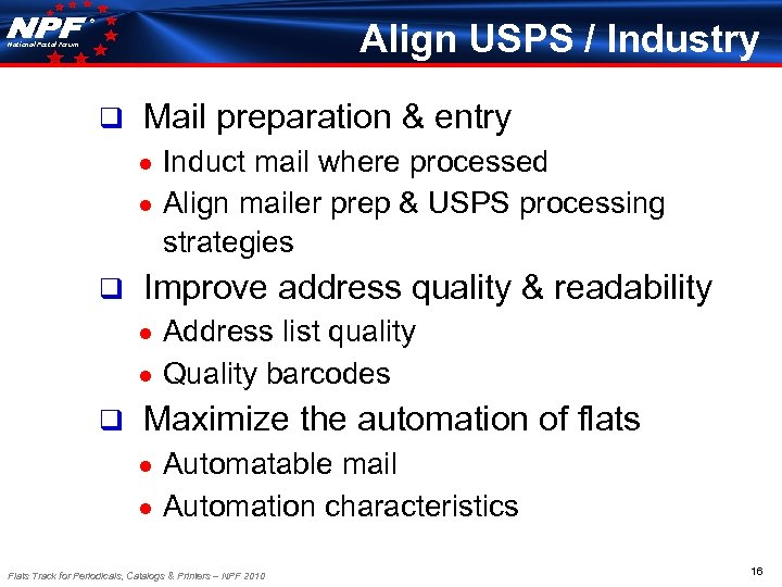 ® Align USPS / Industry National Postal Forum q Mail preparation & entry Induct