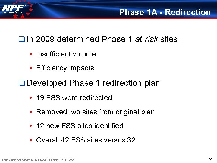 ® Phase 1 A - Redirection National Postal Forum q In 2009 determined Phase