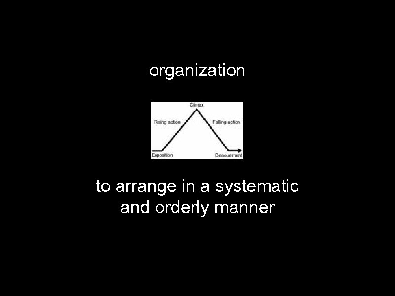 organization to arrange in a systematic and orderly manner