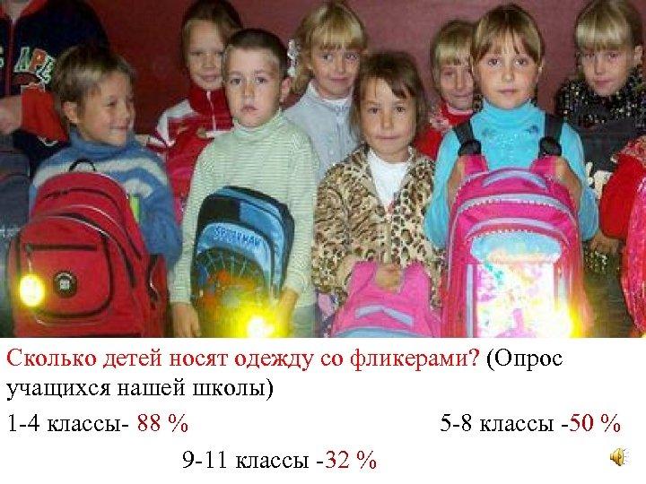 Сколько детей носят одежду со фликерами? (Опрос Сколько детей носят одежду со фликерами учащихся