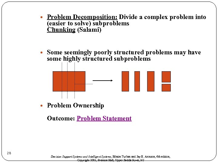 Problem Decomposition: Divide a complex problem into (easier to solve) subproblems Chunking (Salami)