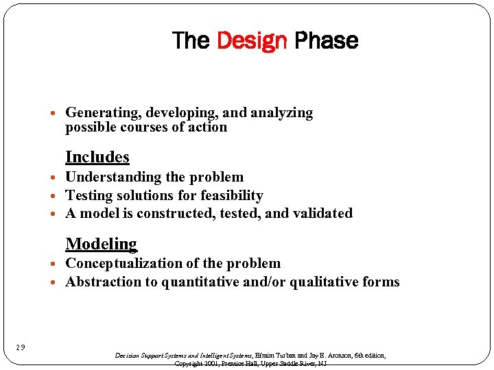 The Design Phase Generating, developing, and analyzing possible courses of action Includes Understanding the