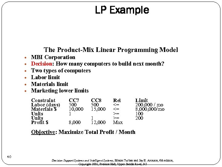 LP Example The Product-Mix Linear Programming Model MBI Corporation Decision: How many computers to