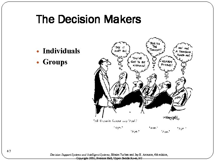 The Decision Makers 47 Individuals Groups Decision Support Systems and Intelligent Systems, Efraim Turban