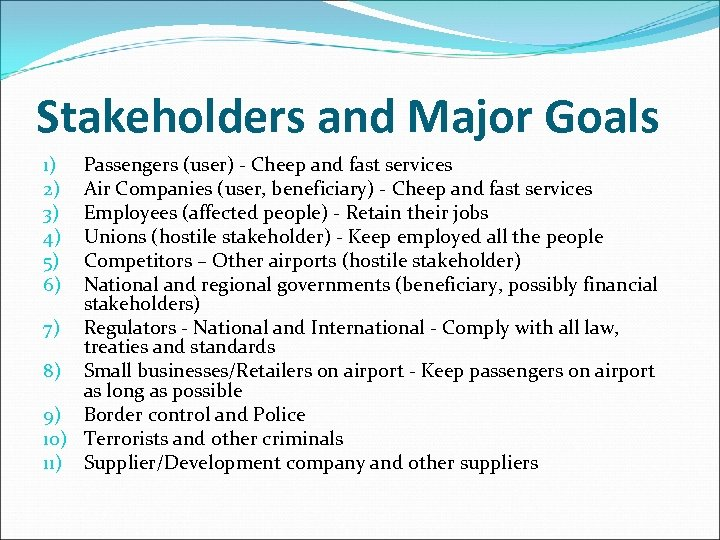 Stakeholders and Major Goals Passengers (user) - Cheep and fast services Air Companies (user,