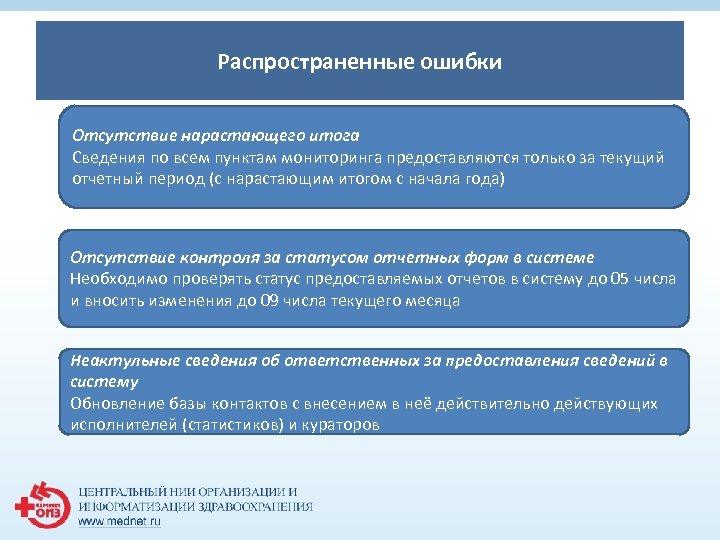 1 Распространенные ошибки Отсутствие нарастающего итога Сведения по всем пунктам мониторинга предоставляются только за